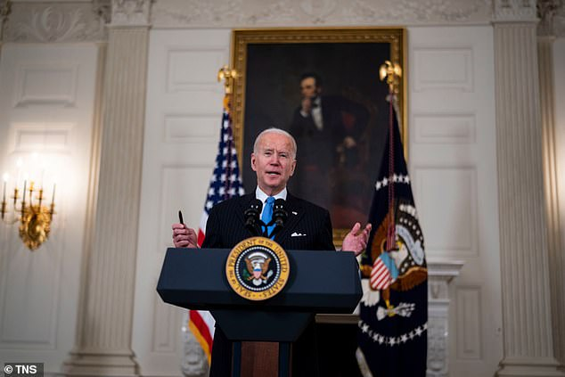 U.S. President Joe Biden speaks in the State Dining Room of the White House on March 2