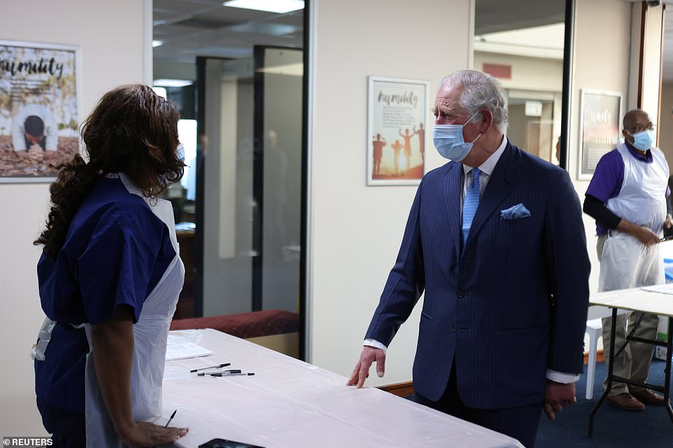 Charles told a nurse 'I can imagine how exhausting it is' as she told him of the work she was doing to help Britain's vaccination drive during a visit toJesus House church near Brent Cross in north London