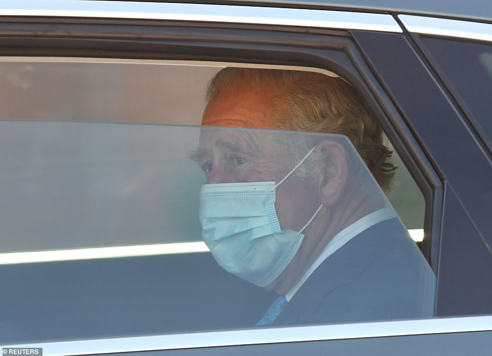 Charles got into the back of a car after ignoring a question about the interview, as he put on a brave face amid the continuing scandal