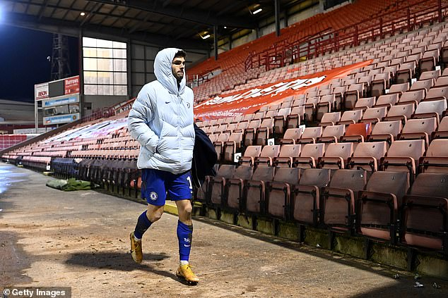 Pulisic walks to the dressing room after his only start under Tuchel against Barnsley in the Cup