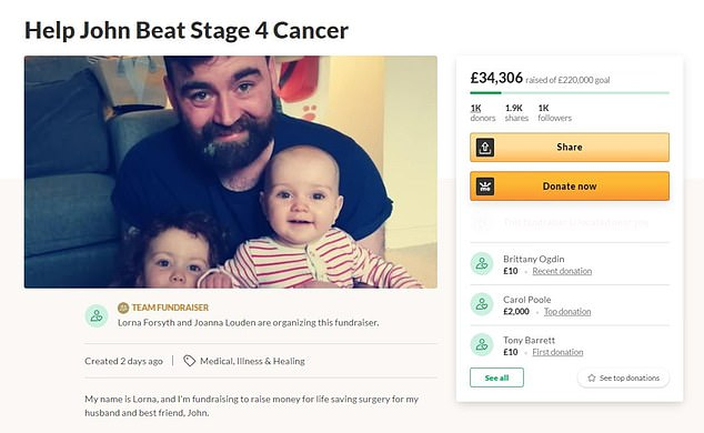 So far nearly £35,000 has been raised by generous donors on the father's Gofundme site