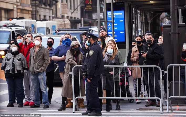 A crowd gathered to watch as the former president left Trump Tower on Tuesday afternoon