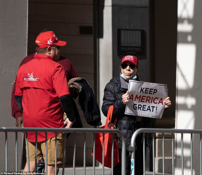 Trump fans had gathered outside of Trump Tower since Sunday to voice their support for the former president