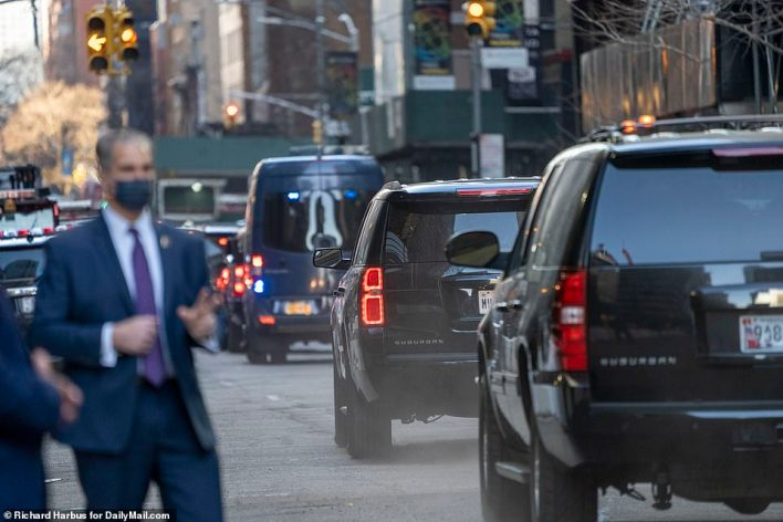 Trump's motorcade as it departed from his Manhattan skyscraper for the airport