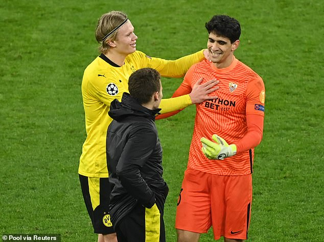 The Norwegian later approached the goalkeeper once the final whistle had sounded