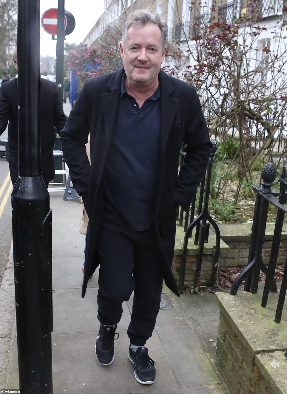 The tough-talking morning show host, who has helped rocket the ITV show to its highest ever viewing figures, went for a walk with his daughter this morning (pictured)