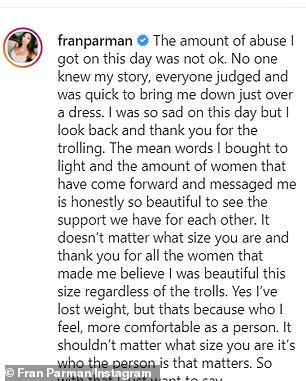 Not happy: The video comes after Fran shared a lengthy post in which she highlighted the unnecessary abuse she received for wearing the unflattering bodycon in August 2020
