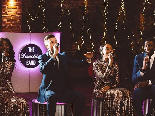 Lined-up:The 'best band in the world' he was referencing was Hertfordshire-based The Function Band, who have delivered dazzling and wide-ranging performances for over 12 years for a host of stars and lavish events (pictured)