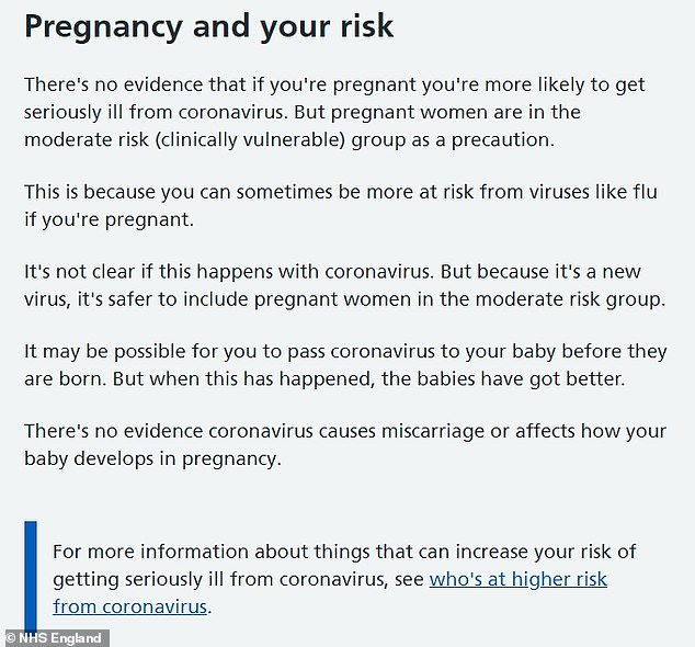 NHS advice to pregnant women has recommended that they are extra cautious about catching coronavirus because the risks aren't fully understood