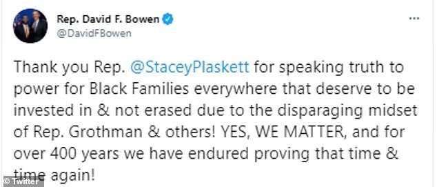 Grothman's fellow Wisconsin congressman Rep David Bowen also sided with Plaskett
