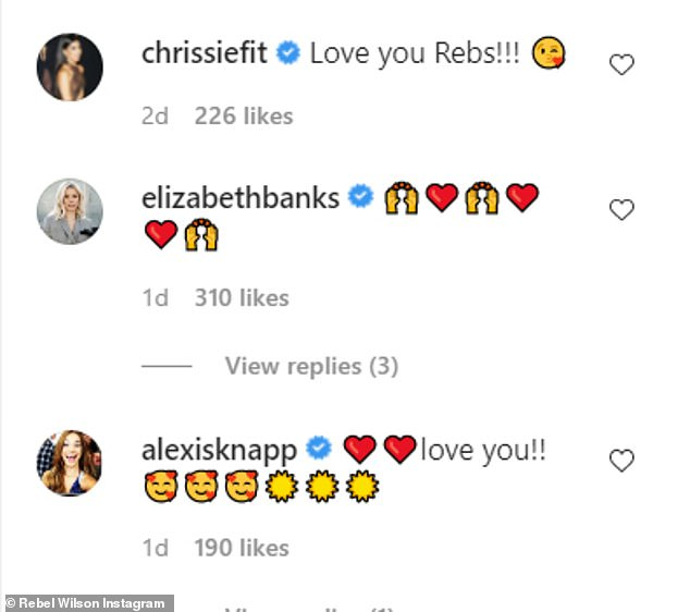 'Love you!' The Cats actress' Instagram post received glowing comments from her castmates Chrissie Fit, Elizabeth Banks, and Alexis Knapp