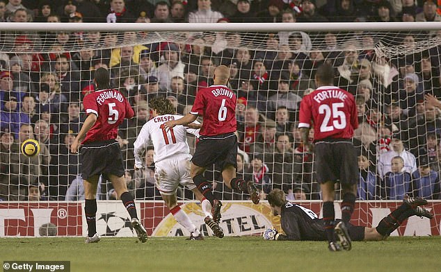 Crespo netted the only goal at Old Trafford after a mistake from goalkeeper Roy Carroll