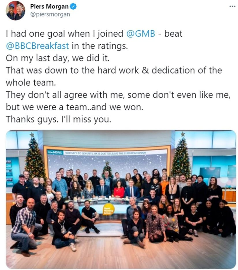 Piers Morgan today tweeted a message of thanks to the Good Morning Britain team
