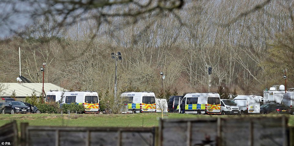 Police have today expanded their presence at the site in Ashford where human remains were found last night, including a mobile HQ and a diving unit