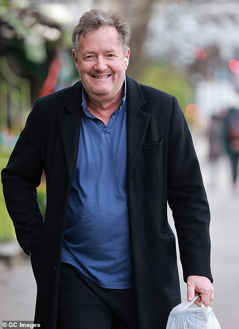 Piers Morgan pictured near his home in London today
