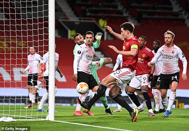 Harry Maguire was unable to convert from a yard out against AC Milan on Thursday evening