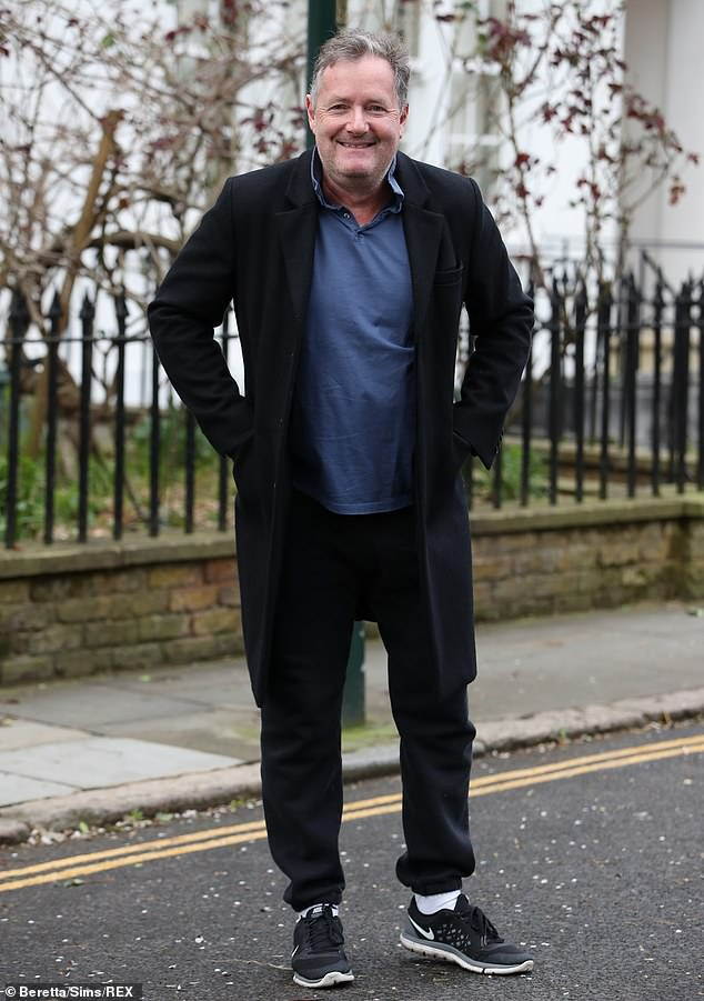 Piers happily stopped and smiled for the cameras as he left his west London home with daughter Elise yesterday morning