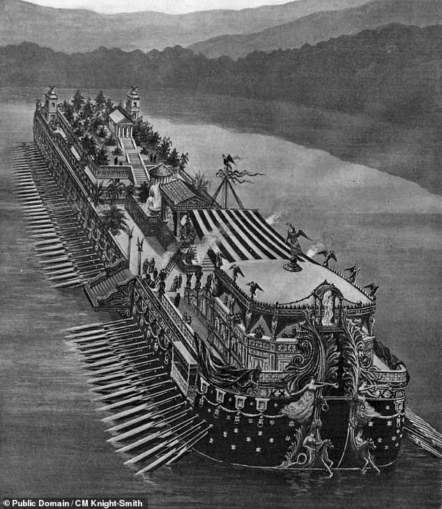 After vanishing for 62 years and ending up as a coffee table, a mosaic that adorned the bridge of one of Emperor Caligula's lavish pleasure barges (as illustrated) has returned to Italy
