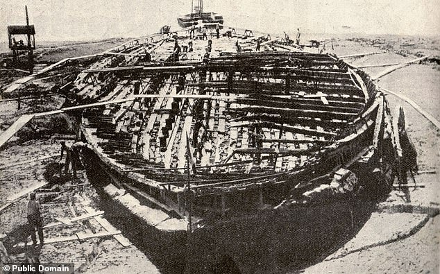 The 'Nemi ships' were dredged up from the lake in 1929 at the direct behest of the then Italian prime minister and fascist, Benito Mussolini ¿ who saw himself as a latter-day emperor and was fascinated with reliving the glory of ancient Rome. Pictured, one of the vessels in 1929