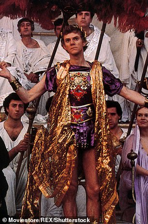 Experts believe that Caligula took inspiration for the ship's designs from the lavish lifestyles of the rulers of Syracuse and Ptolemaic Egypt. Pictured: Caligula as played by Malcolm McDowell in the 1979 erotic historical drama of the same name