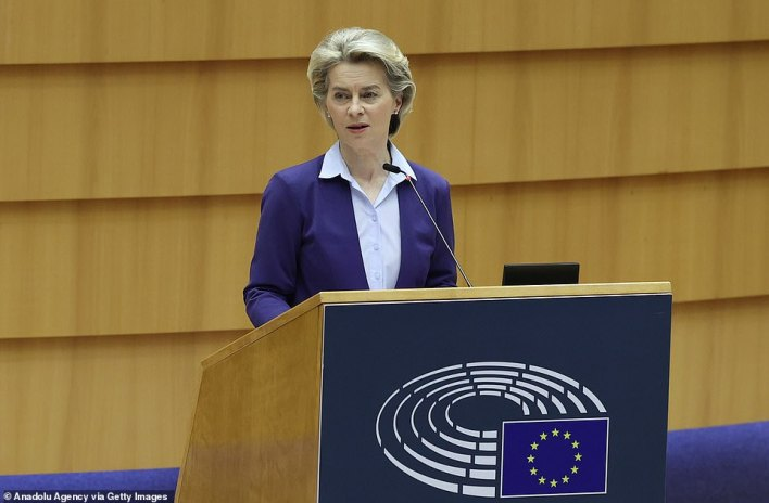 If the roll-out continues at an accelerated rate, all adults in the UK could get their first jab by June 10, according to the Times. The updated target is a month before the Government's original July goal and two months ahead of the EU (pictured EU Commissioner Ursula von der Leyen) - which expects to reach the same point by August.