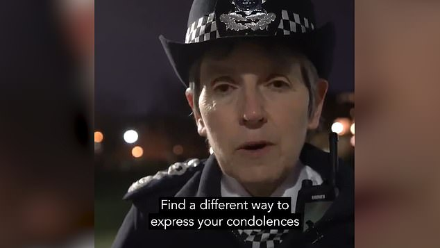 Calls for Cressida Dick to resign have been growing after police manhandled screaming women in extraordinary clashes with demonstrators at a vigil to mourn the death of Sarah Everard (pictured: Cressida Dick urging mourners not to attend the vigil)