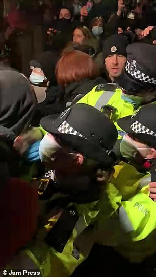 Crowds of people clashed with police officers last night