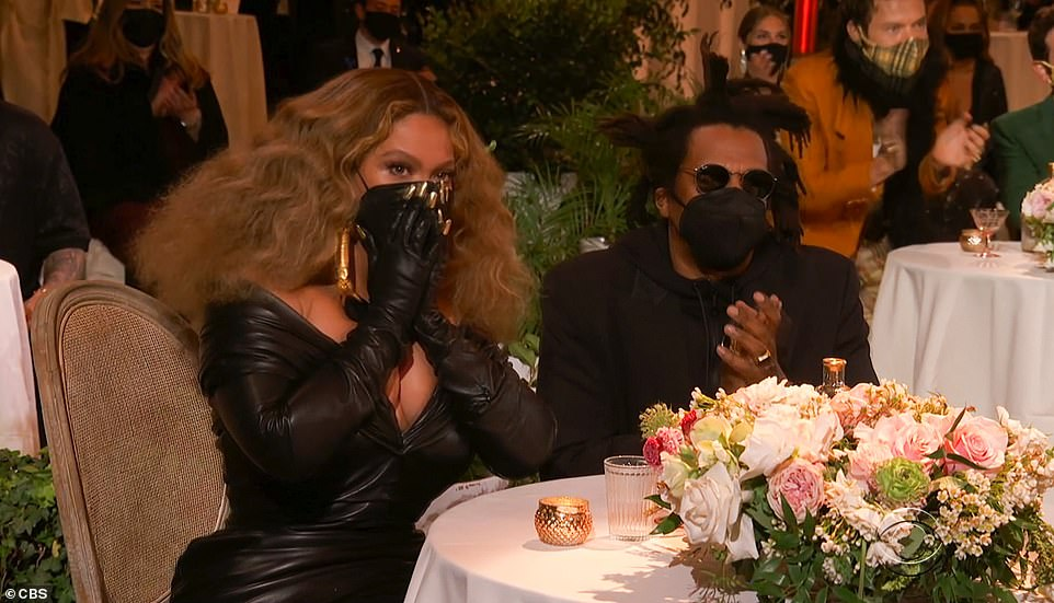 Taken aback: Beyonce looked shocked as her name was announced