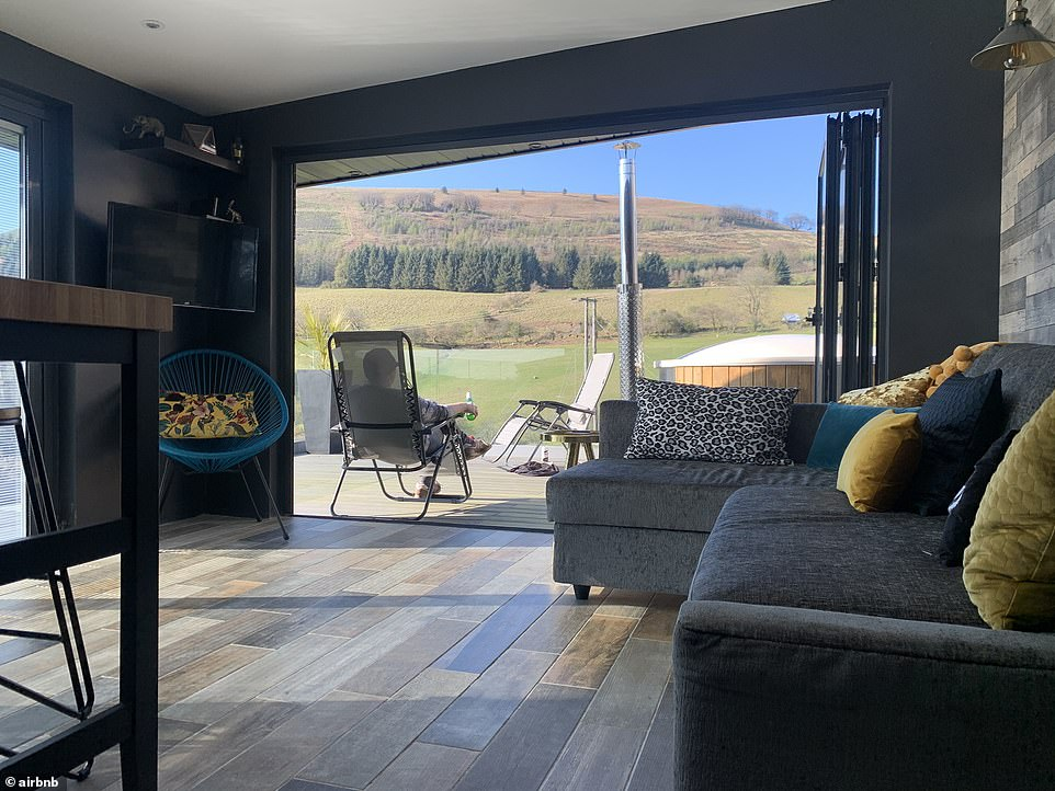 Stay here and 'rest assured, you won't be disturbed by neighbours', says the listing. This holiday cabin in the hills costs £129 a night and sleeps four