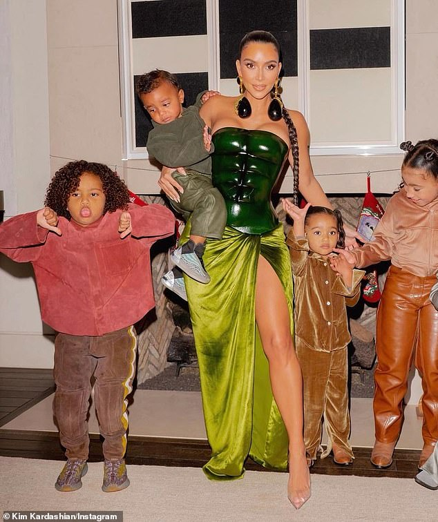 Kris said: 'I don't know how she does it with all those grandbabies. She's got a lot of energy, that kid' (pictured Christmas Eve)