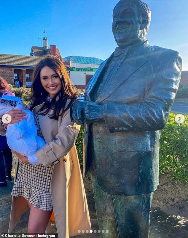 Grandad Les: Charlotte took her son Noah to see her father's bronze statue in Lancashire. The statue was erected in 2008 to honour his legacy