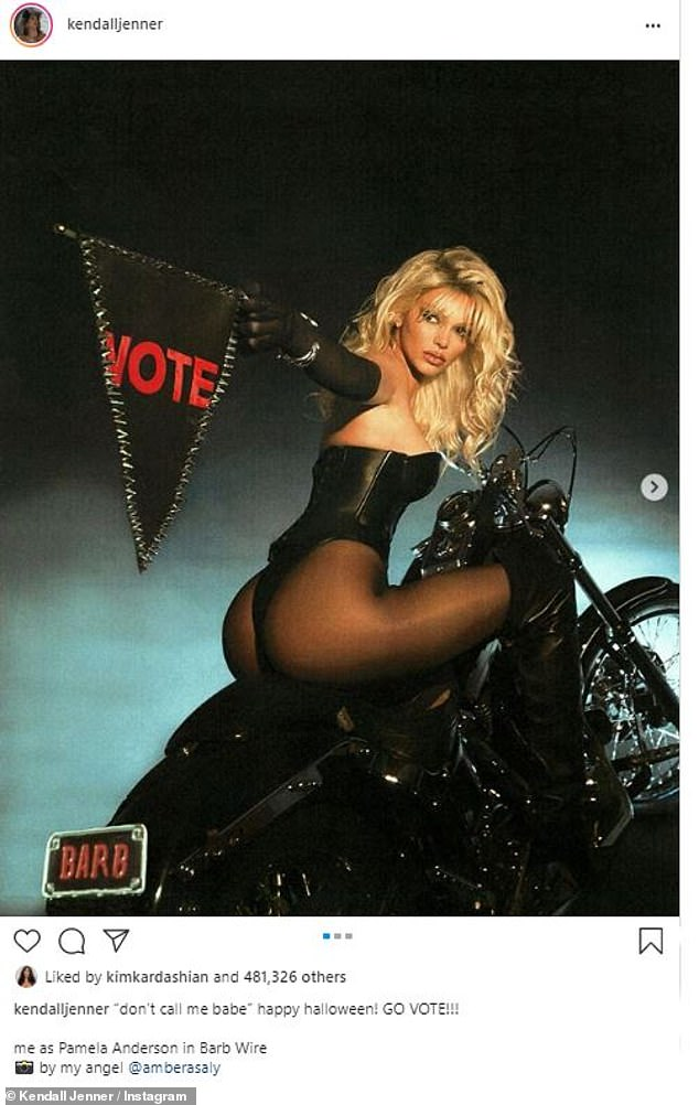 Influential:The costume made an impact on Kendall, as the model dressed up as Pamela in her Barb Wire costume to urge her followers to vote ahead of the 2020 presidential election