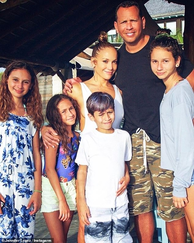 Blended family:Jennifer Lopez and her fiancé Alex Rodriguez are reportedly focusing on their four children as they try to 'work on' their relationship