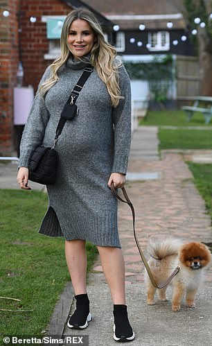 Glowing: TOWIE's Georgia Kousoulou displayed her growing bump for filming on Sunday