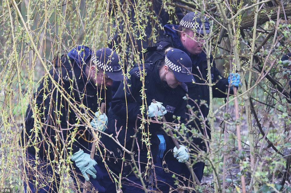 Undergrowth was previously carefully combed through by officers as they looked for anything that could be significant