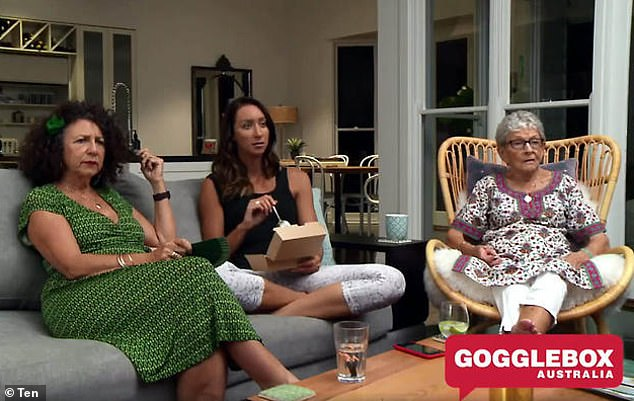 Day job: Isabelle stars on Gogglebox with her mother, Kerry (left), and grandma Emmie (right)