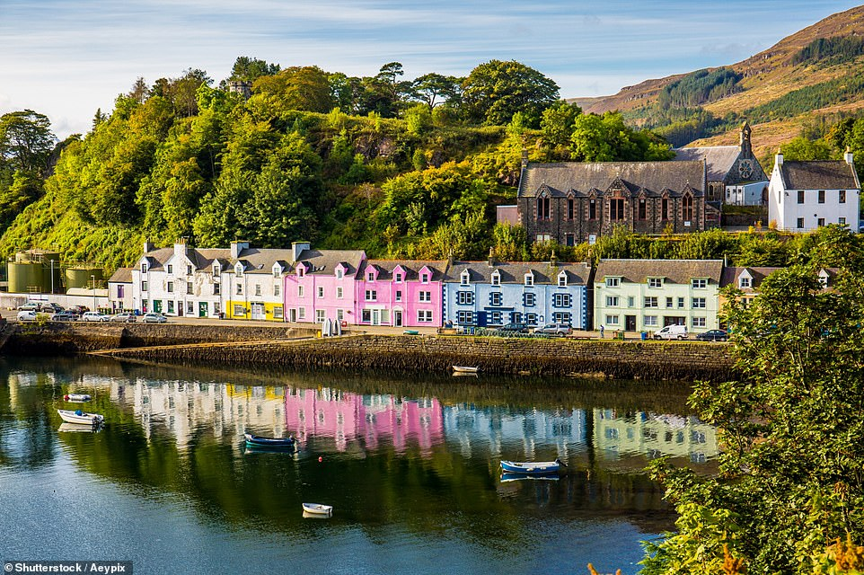 Tripadvisor has revealed the trending destinations for Britons for post-lockdown trips - and domestically Portree, pictured, on the Isle of Skye is No1