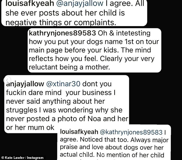 How awful! Finishing off her Instagram upload, Kate shared screengrabs of some of the negative comments which had been made about her