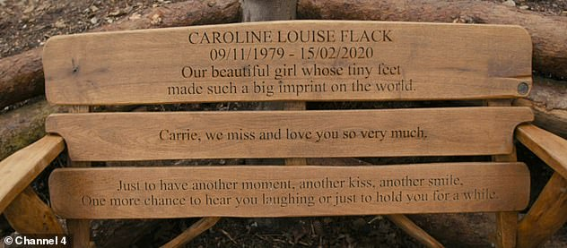 Tragic: The former Love Island presenter is remembered with a bench in Norfolk that's inscribed with a heartbreaking message