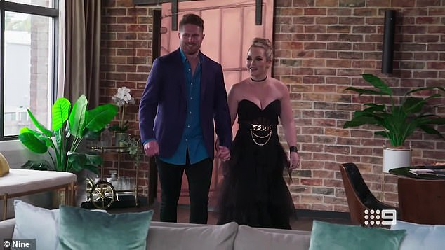 More questions: Gabi said despite being cast in MAFS as far back as March, Bryce continued sparking up connections with other women. 'So really, if we weren't already, it really starts to make us question his intentions,' she said. Pictured is Bryce with his wife Melissa Rawson