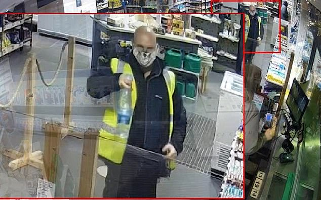 Here Robson is pictured with a drink bottle that he picked up on journey, Newcastle Crown Court heard
