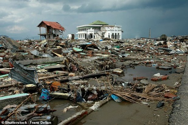 Abrip Asep was on duty when the Indian Ocean tsunami struck Indonesia on Boxing Day 2004, his family said.  In the picture: the aftermath of the tsunami in Aceh, Indonesia