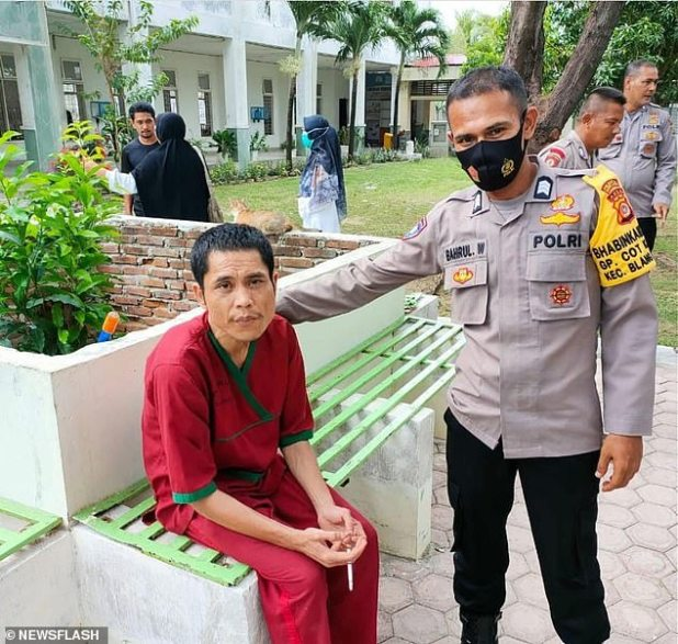 Asep (left) was found in a psychiatric hospital in Aceh province, Indonesia, after suffering mental health problems due to the trauma he witnessed during the tsunami.