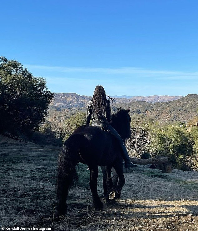 Clear blue skies: One of the girls was seen riding around on horseback in Calabasas