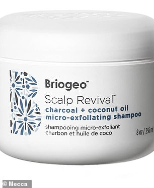 Products recommended by Mecca include Briogeo's Scalp Revival Charcoal + Coconut Oil Micro-exfoliating Scalp Scrub Shampoo