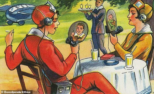 An artist in 1930 painted their own version of what video calling would look like, which includes a round screen that people can speak into using a horn-shaped speaker