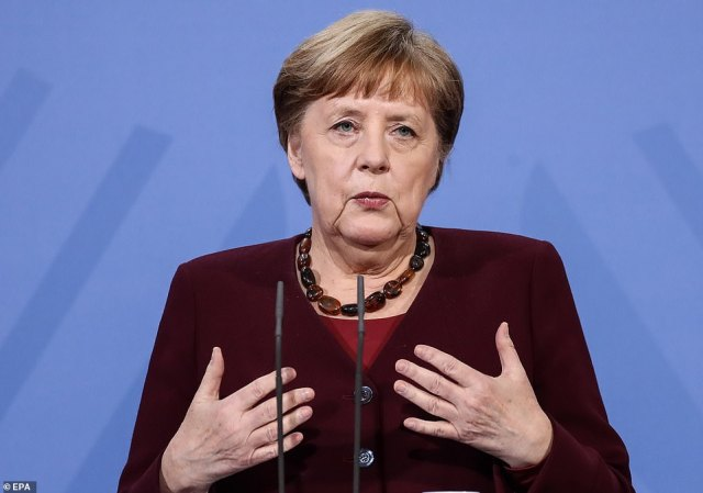 The EU's disastrous vaccine rollout means barely 12 per cent of adults in France, Germany and Italy have so far had jabs. Pictured: German Chancellor Angela Merkel