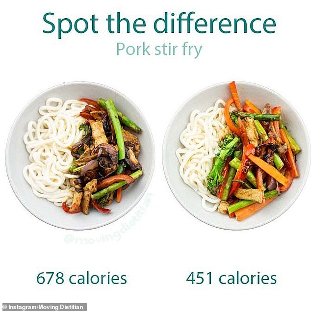 The dietitian has shared other food comparisons between two pork stir fries (pictured)