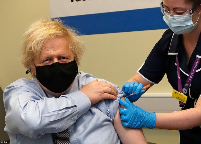 Boris Johnson, who had the Oxford-AstraZeneca vaccine himself on Friday, added: 'It's so important that we all get our jabs as soon as our turn comes u00BF the Oxford jab is safe, the Pfizer jab is safe, what isn't safe is catching Covid'