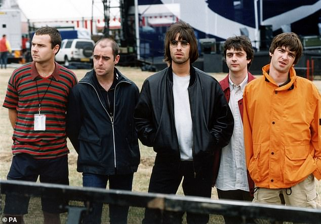 Pictured: Oasis in 1995 before their Knebworth Park concert. [L-R] Alan White, Paul Arthurs, Liam Gallagher, Paul McGuigan, Noel Gallagher